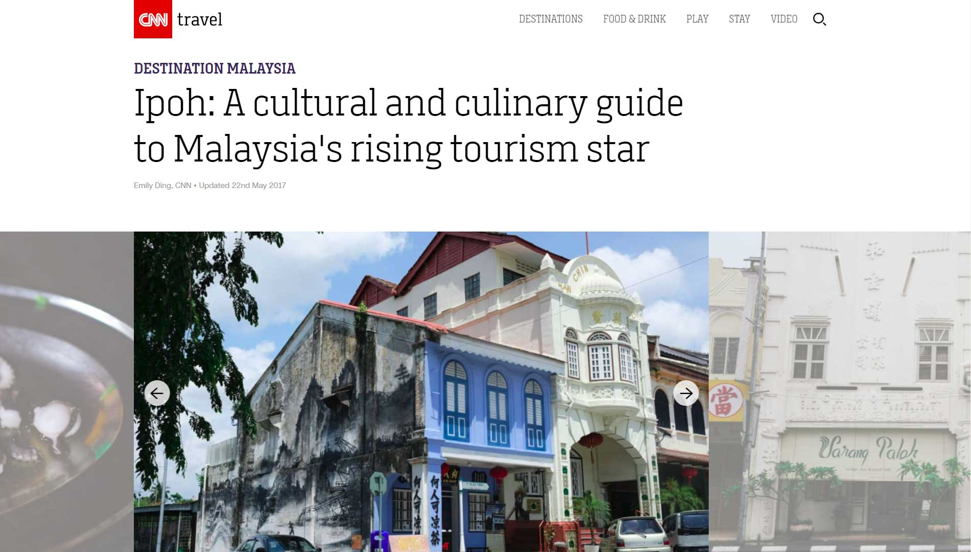 Ipoh Secrets Article on CNN Travel